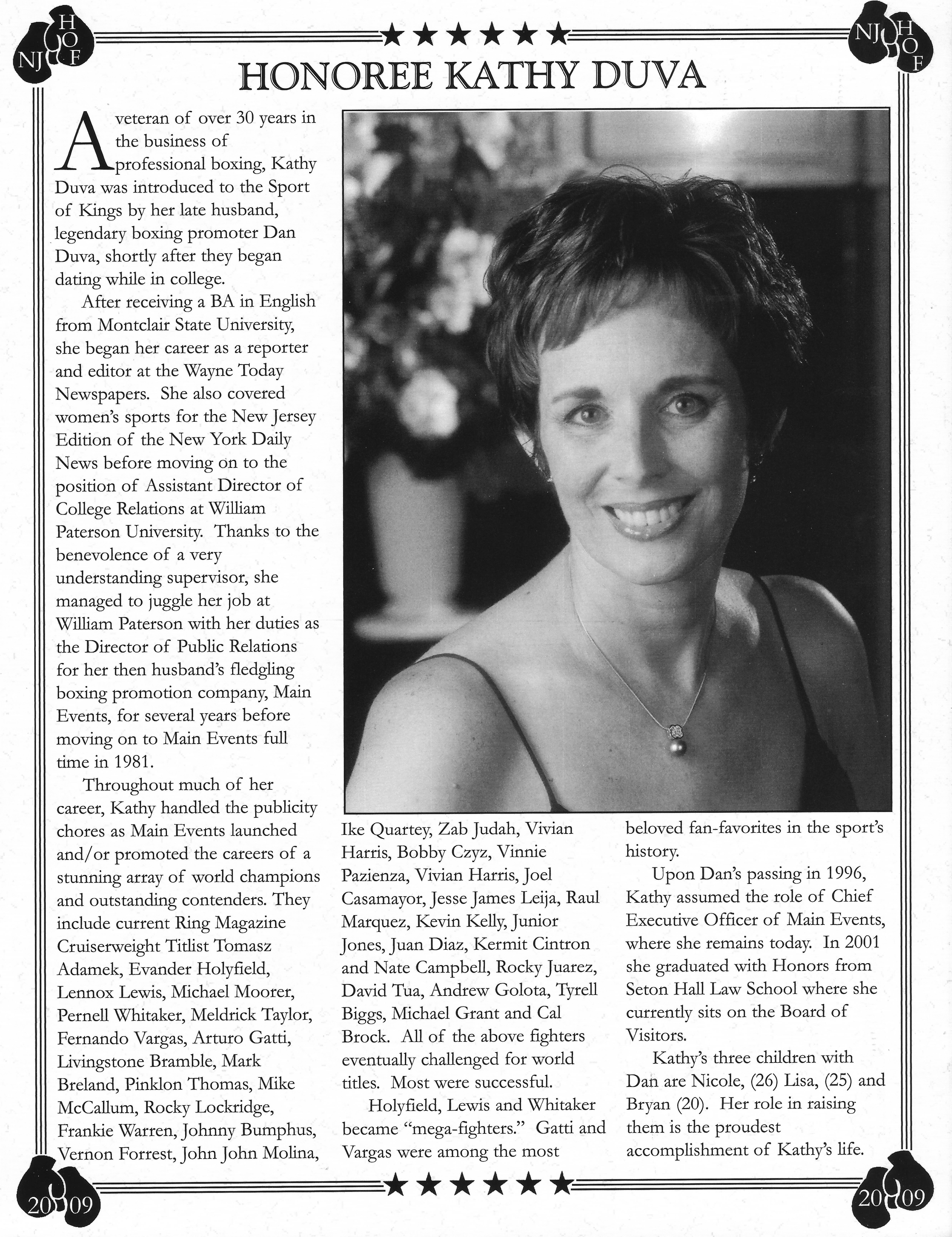 kathy duva new jersey boxing hall of fame